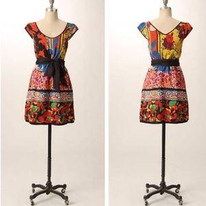 Anthropologie Black & Bright Colorful Silk Dress 2